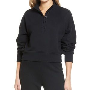NWT Reformation Marla Black Crop Button Sweatshirt